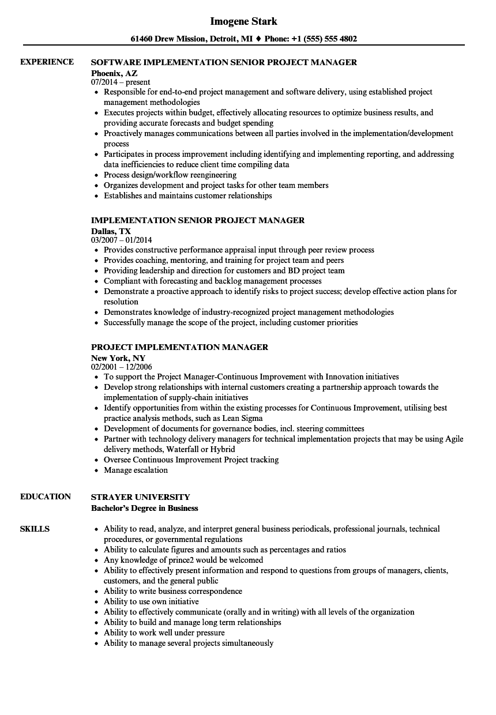 Project Implementation Manager Resume Samples | Velvet Jobs