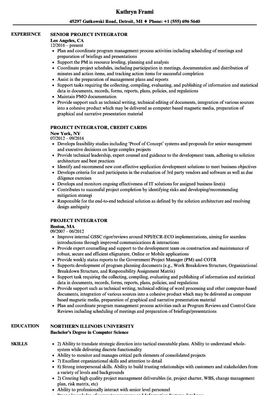 project integrator resume samples