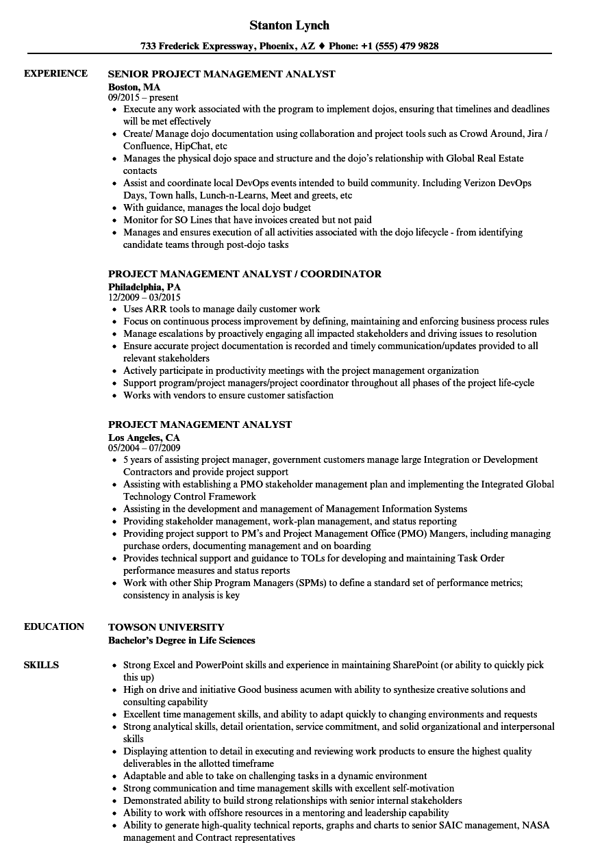project management analyst resume samples