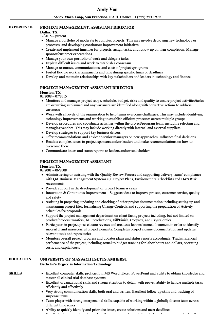 Project Management Assistant Resume Samples | Velvet Jobs