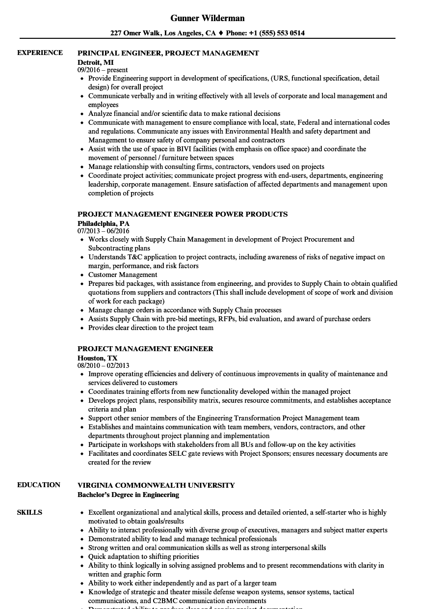 project management engineer resume samples