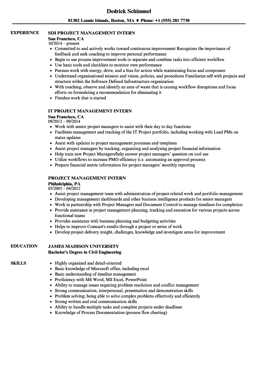 Project Management Intern Resume Samples | Velvet Jobs