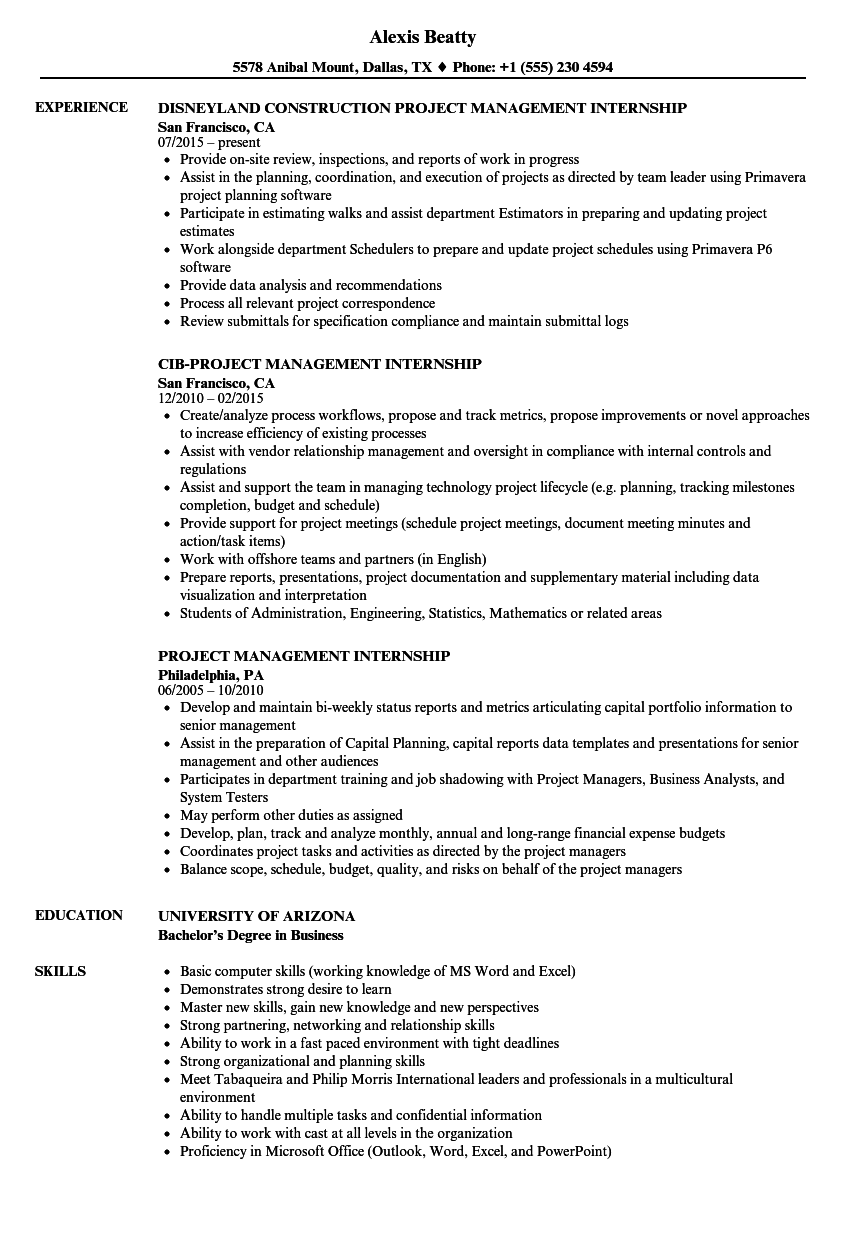 project management internship resume samples