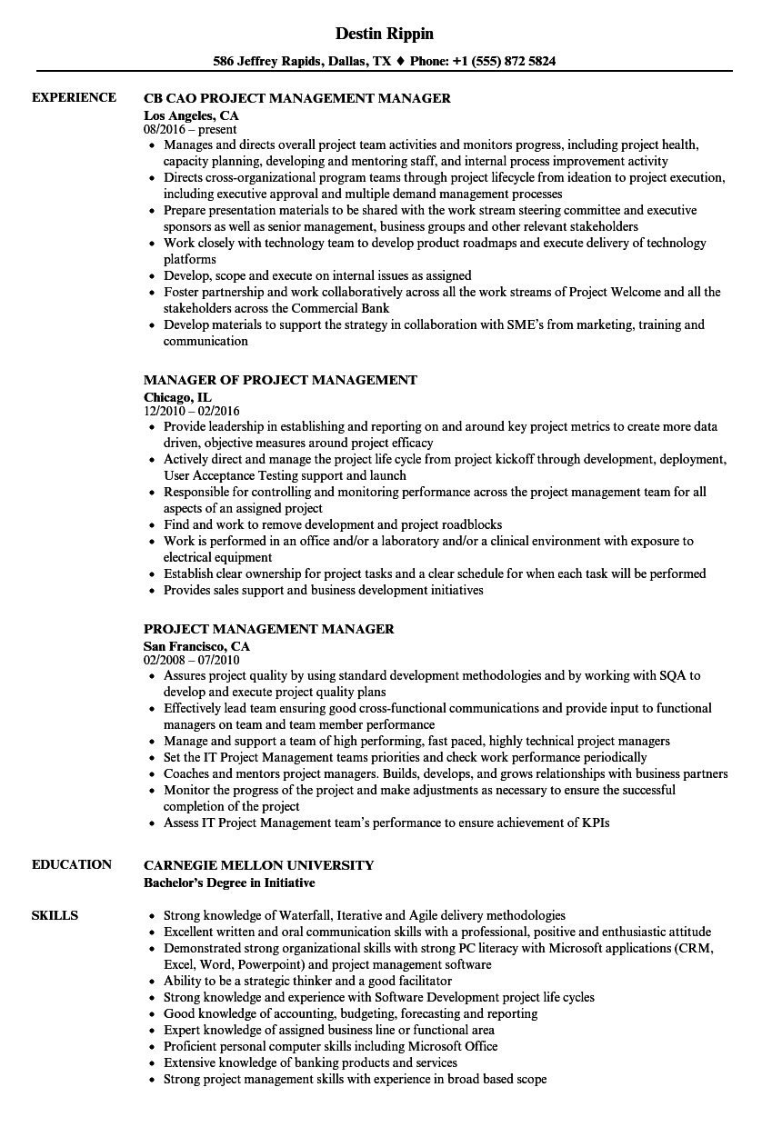 Project Management Manager Resume Samples Velvet Jobs
