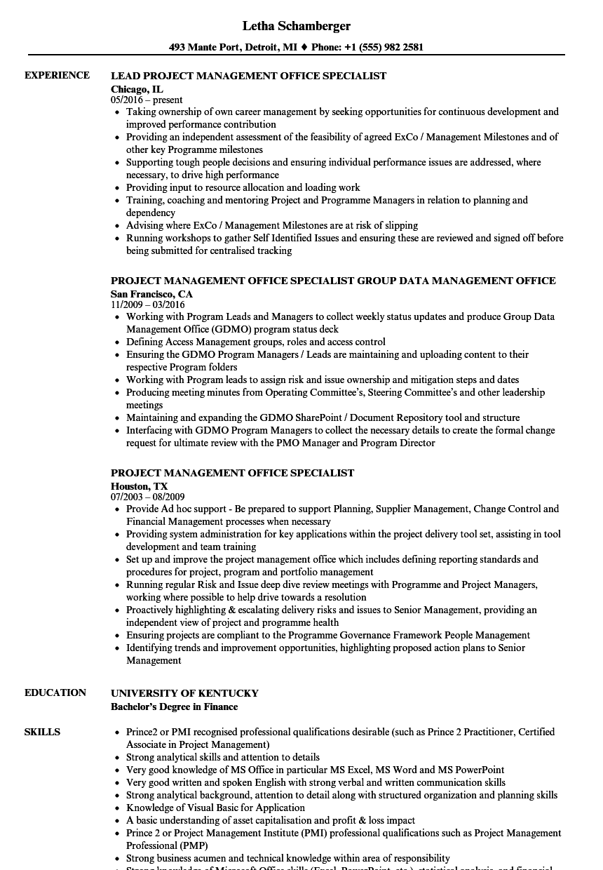 project management office specialist resume samples