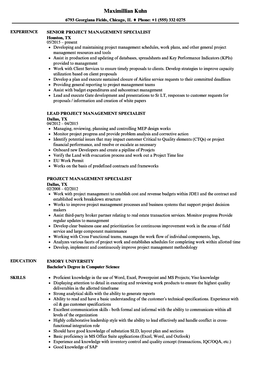 Project Management Specialist Resume Samples Velvet Jobs