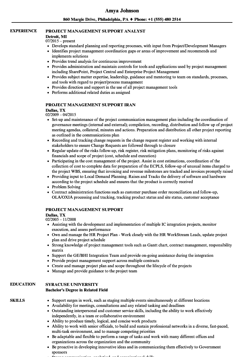 Download Project Management Support Resume Sample As Image File  Pmp Resume Sample
