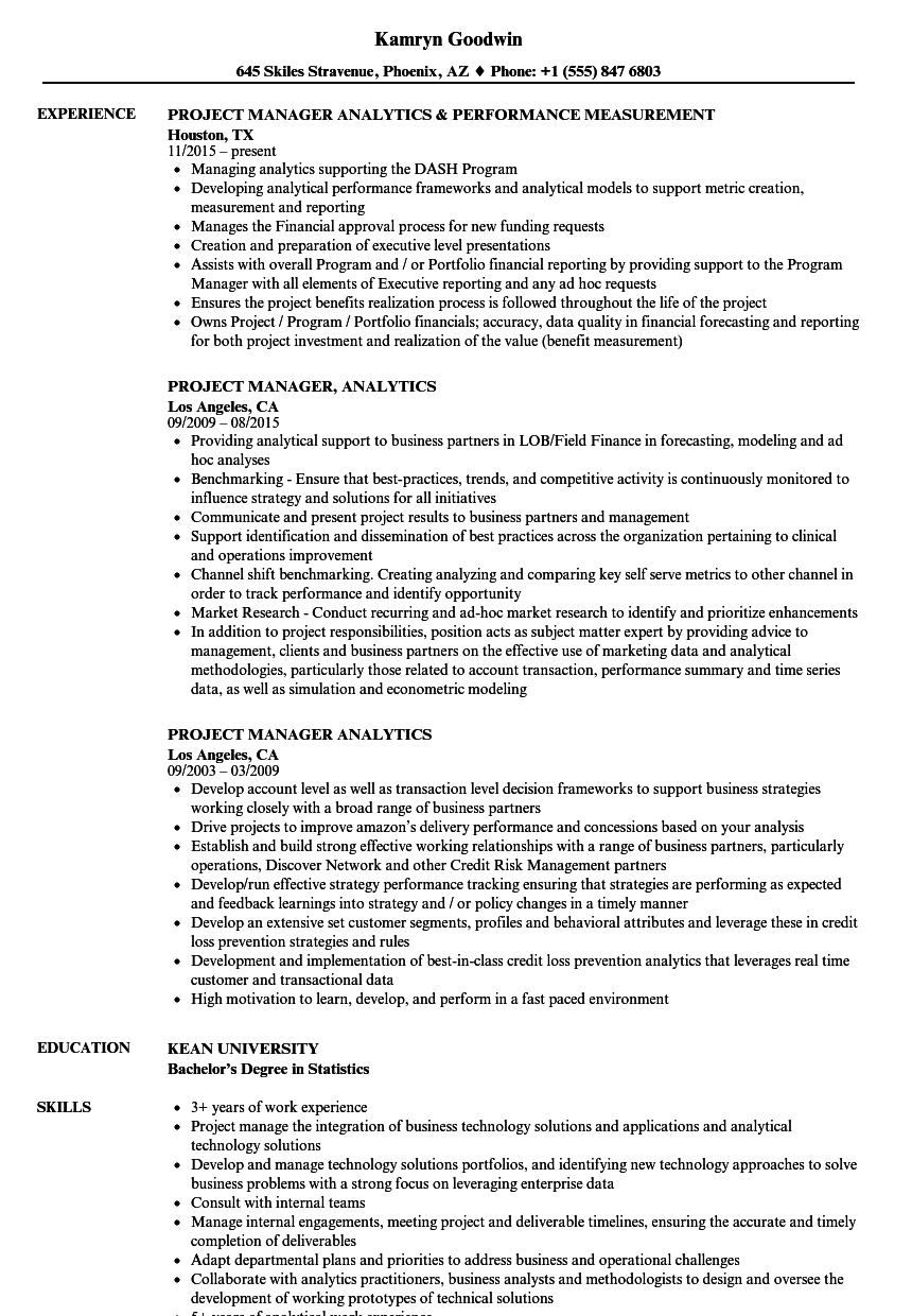 project manager  analytics resume samples