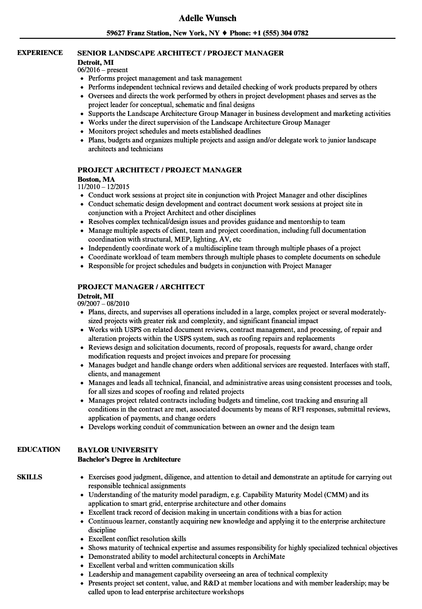 project manager    architect resume samples