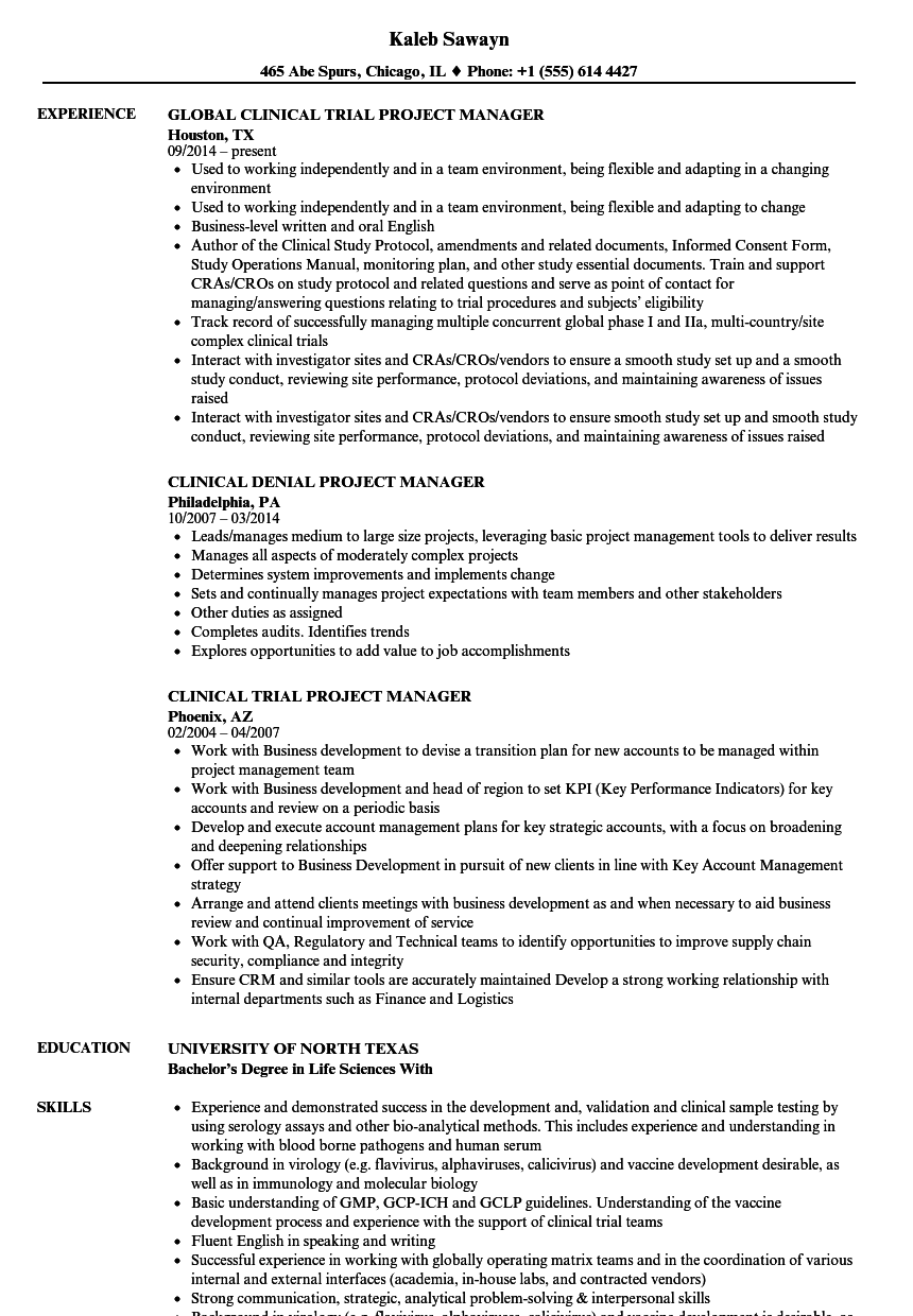 project manager clinical resume samples