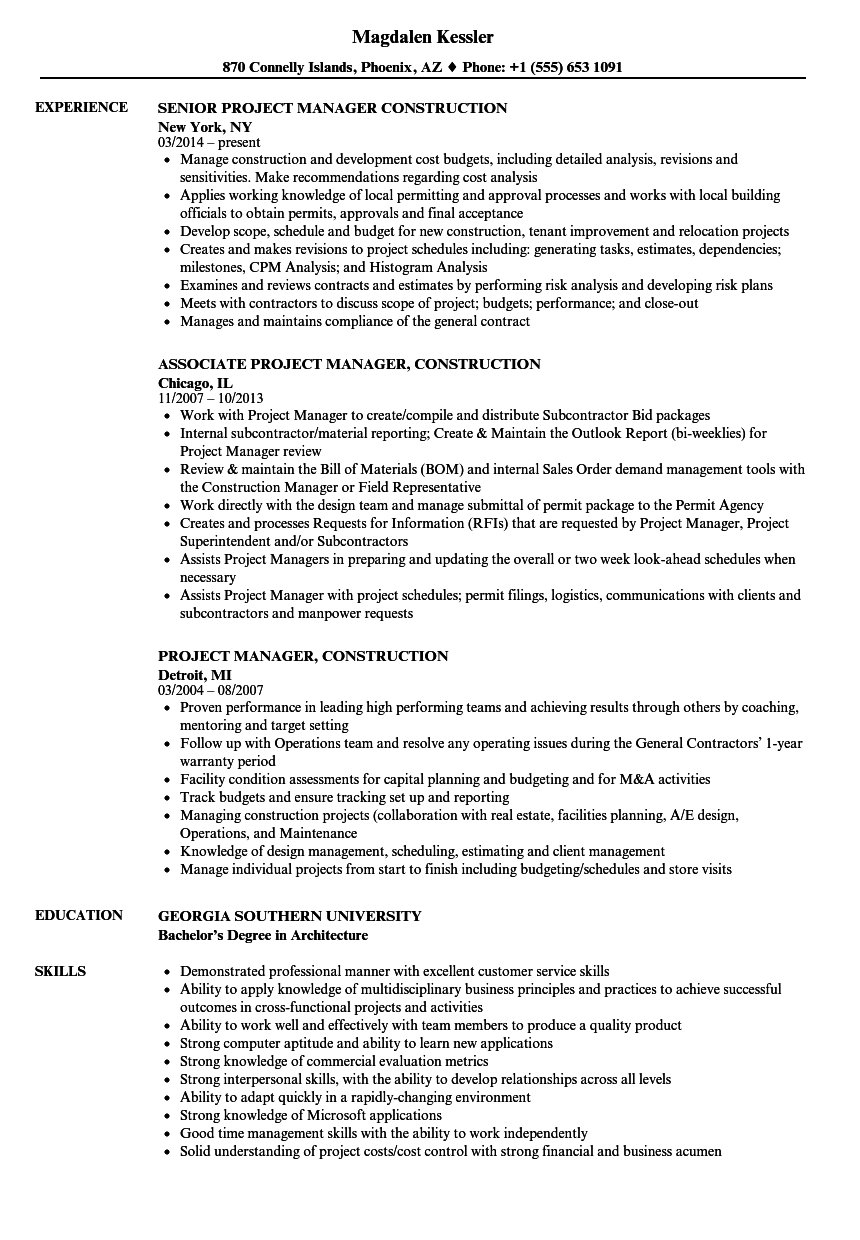 Project Manager, Construction Resume Samples | Velvet Jobs