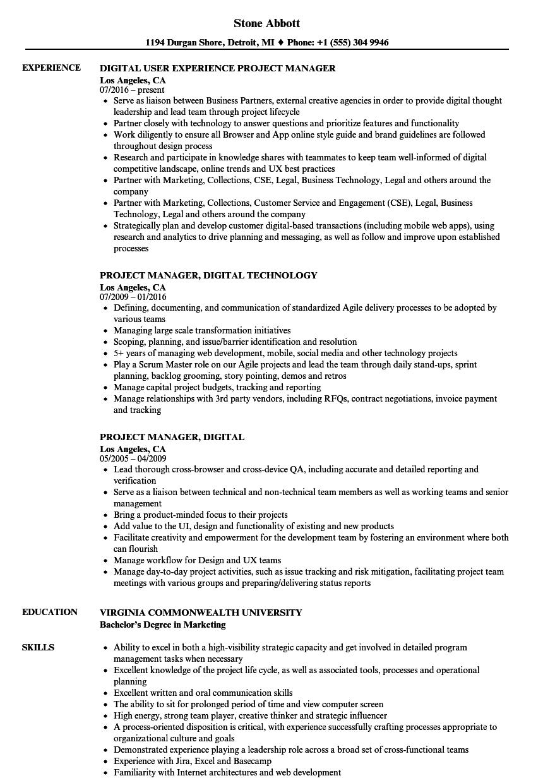 Project Manager Digital Resume Samples Velvet Jobs