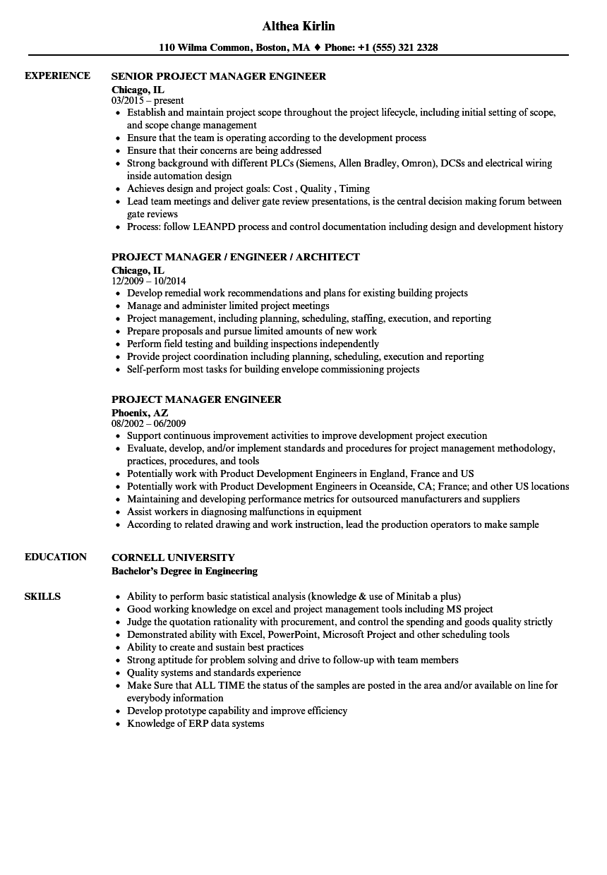 Project Manager Engineer Resume Samples Velvet Jobs