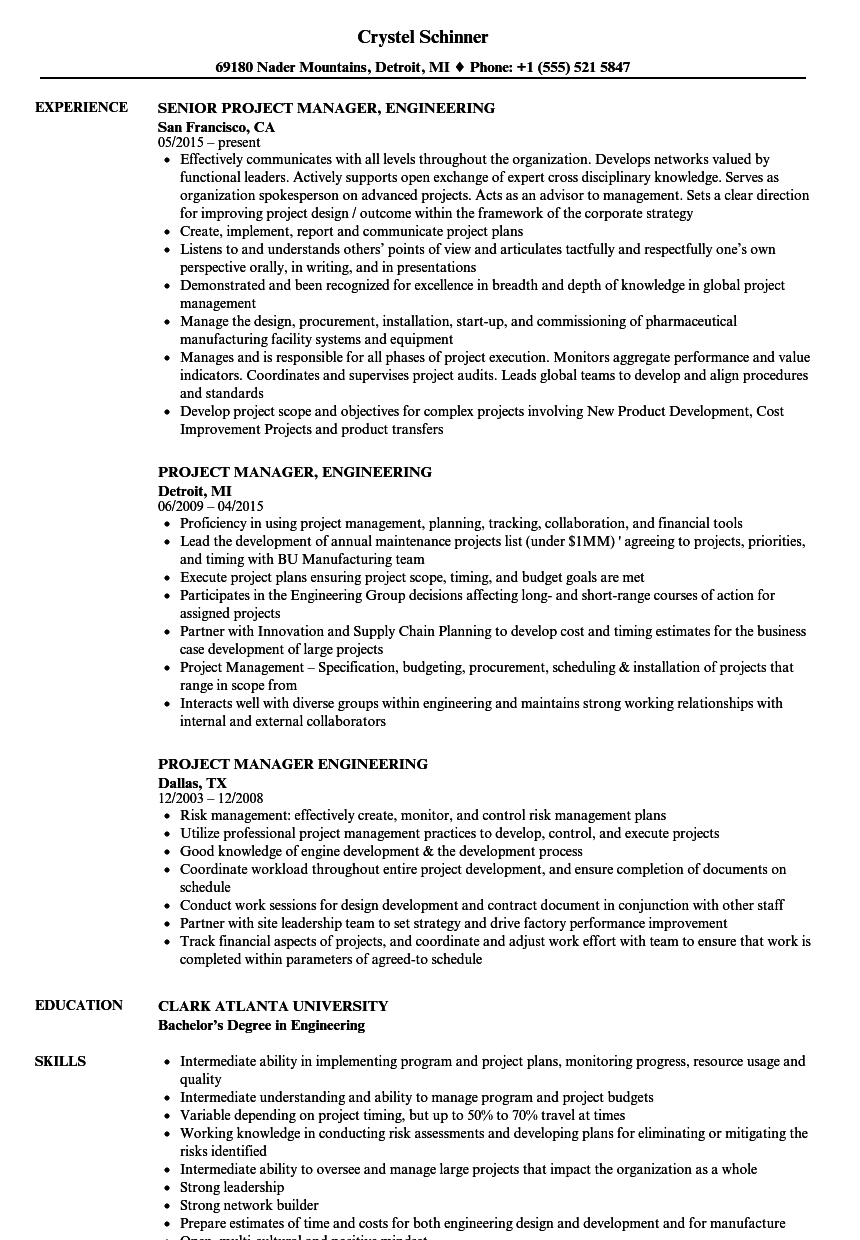 project manager engineering resume samples