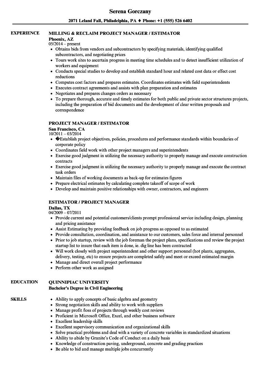 project manager estimator resume samples velvet jobs