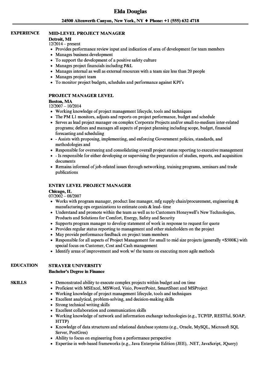 Project Manager Level Resume Samples Velvet Jobs