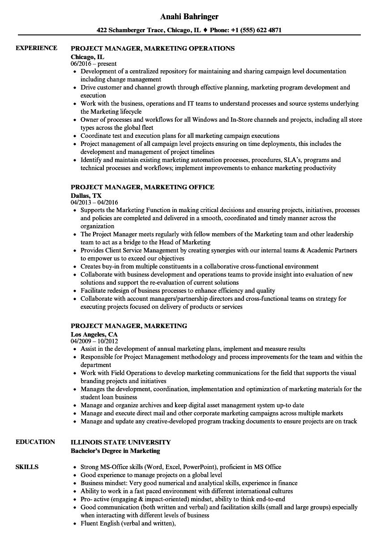 Project Manager Marketing Resume Samples Velvet Jobs