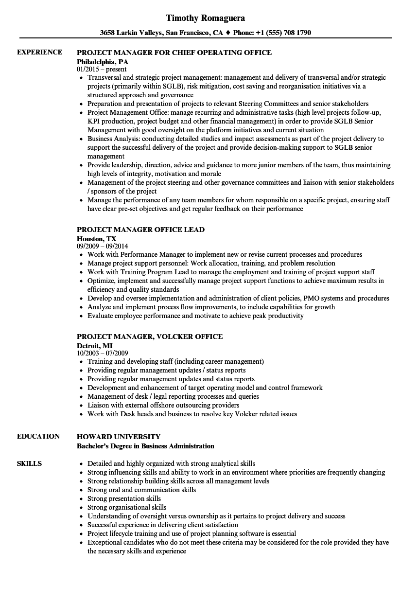 office project manager resume