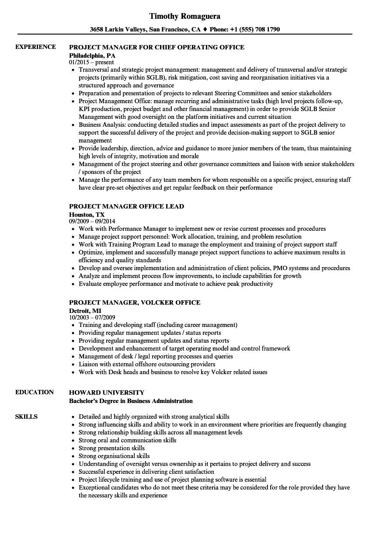 Project Manager Office Resume Samples Velvet Jobs