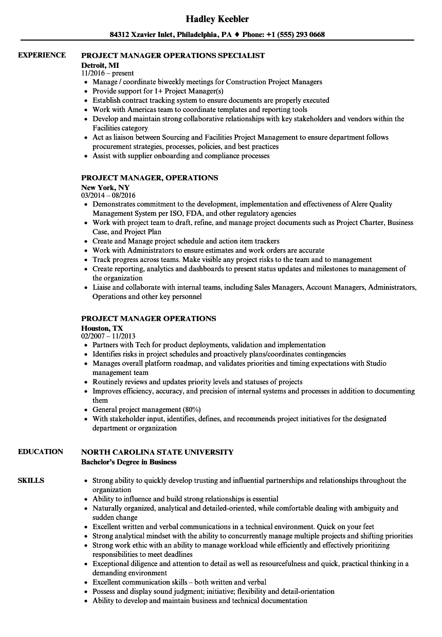 operations manager resume sample pdf