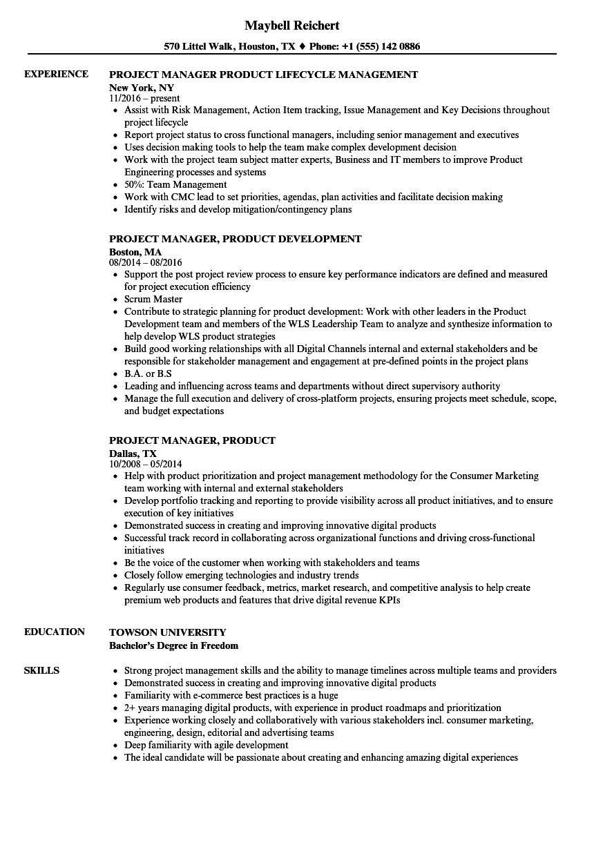 project manager product resume samples velvet jobs