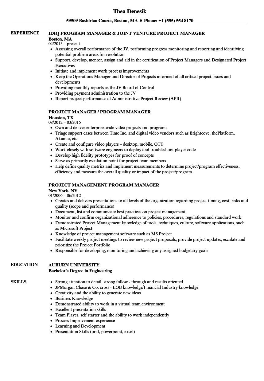 Project Manager Program Manager Resume Samples Velvet Jobs