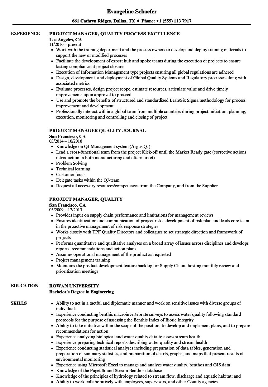 project manager  quality resume samples