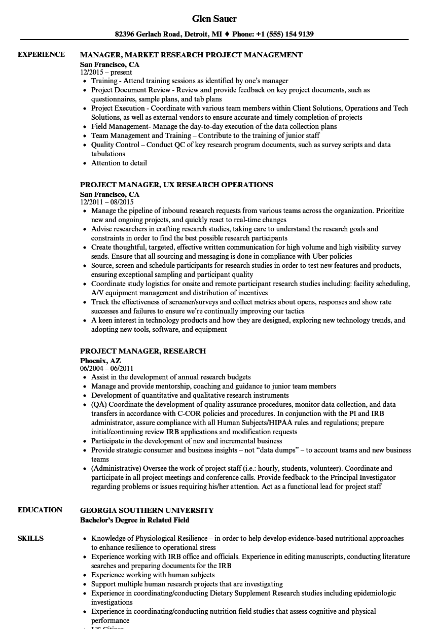 project manager  research resume samples
