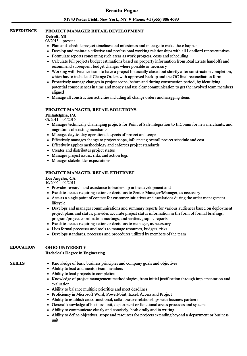 download project manager retail resume sample as image file
