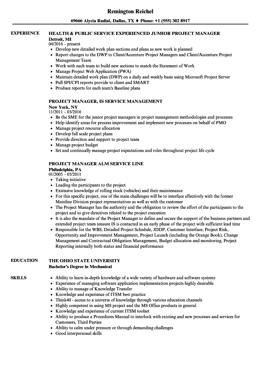 project manager service resume samples
