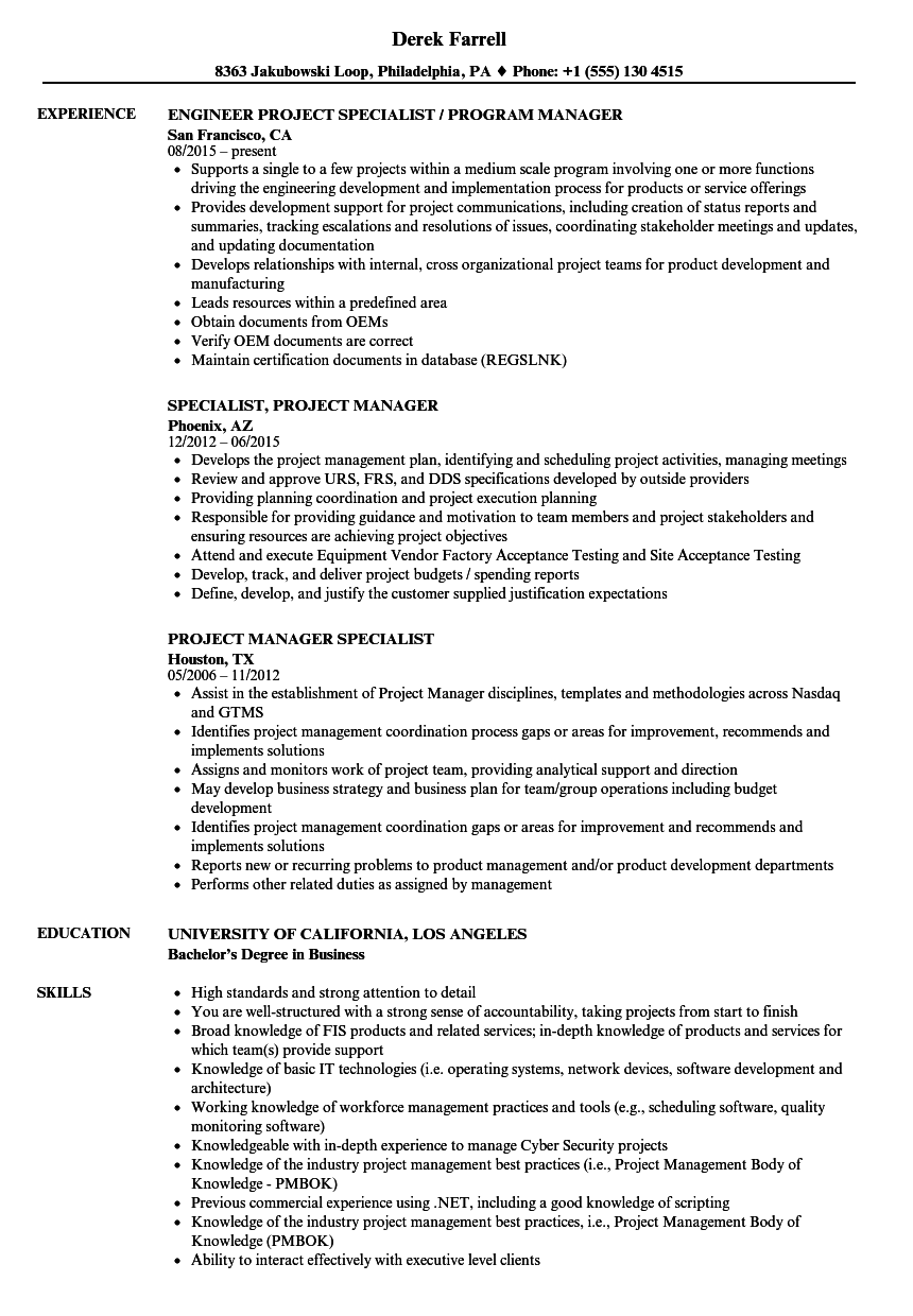 project manager specialist resume samples