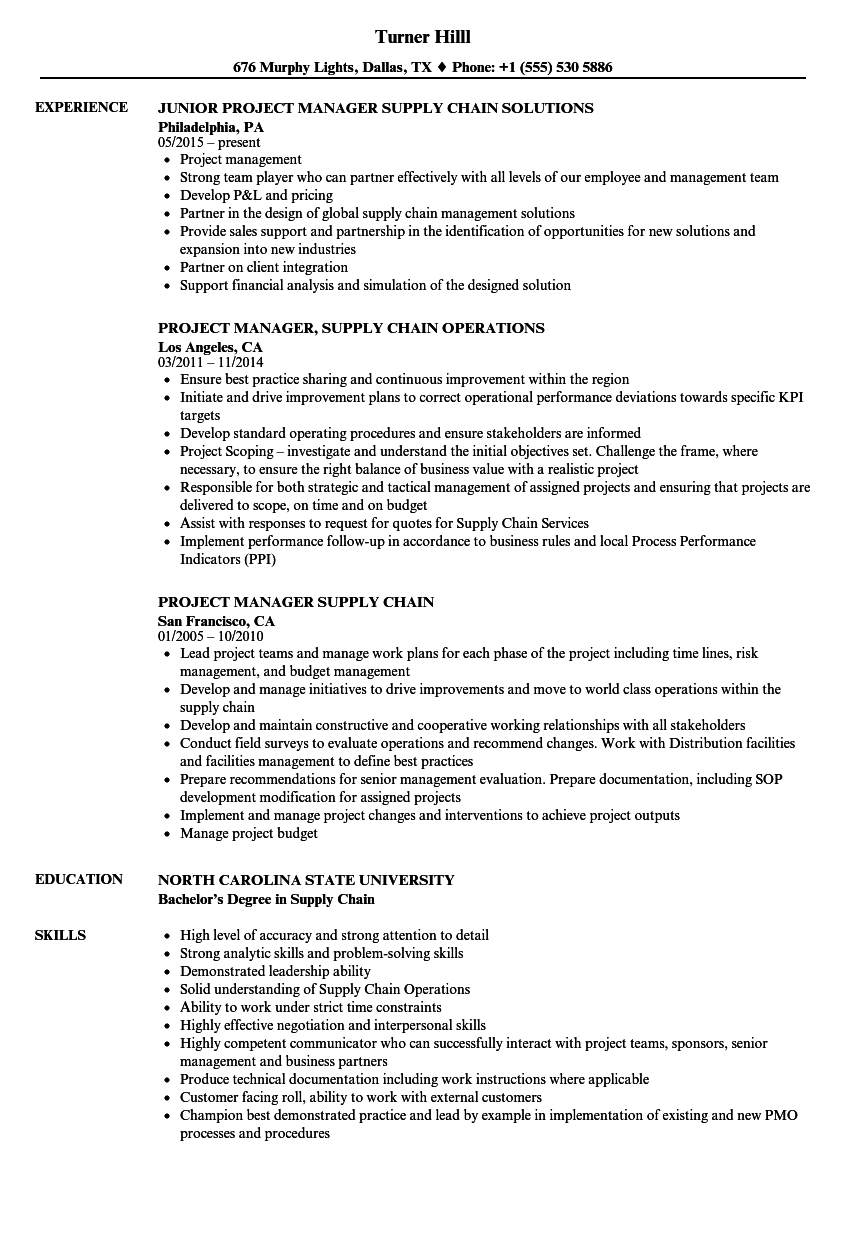 project manager supply chain resume samples