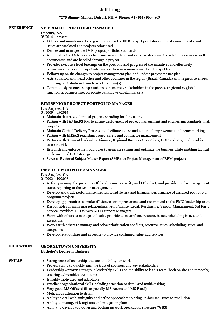 Project Portfolio Manager Resume Samples Velvet Jobs
