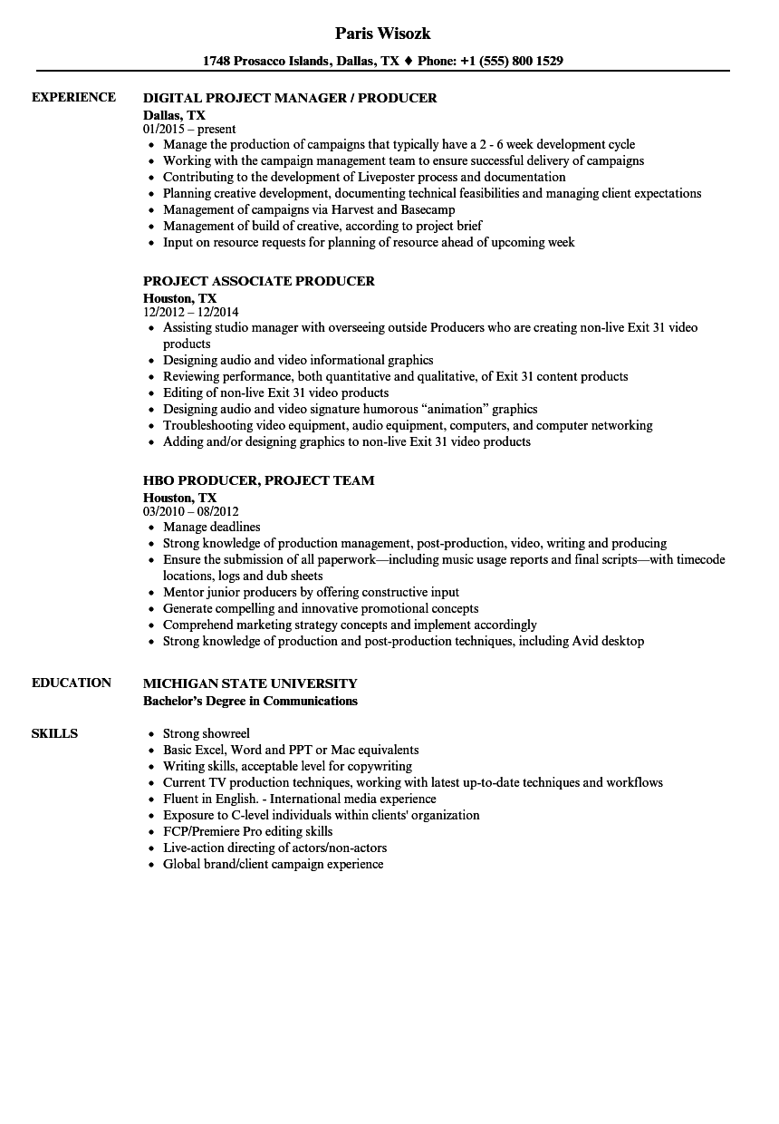 Project Producer Resume Samples | Velvet Jobs