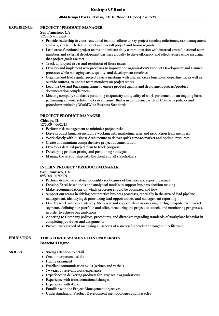 Project / Product Manager Resume Samples | Velvet Jobs