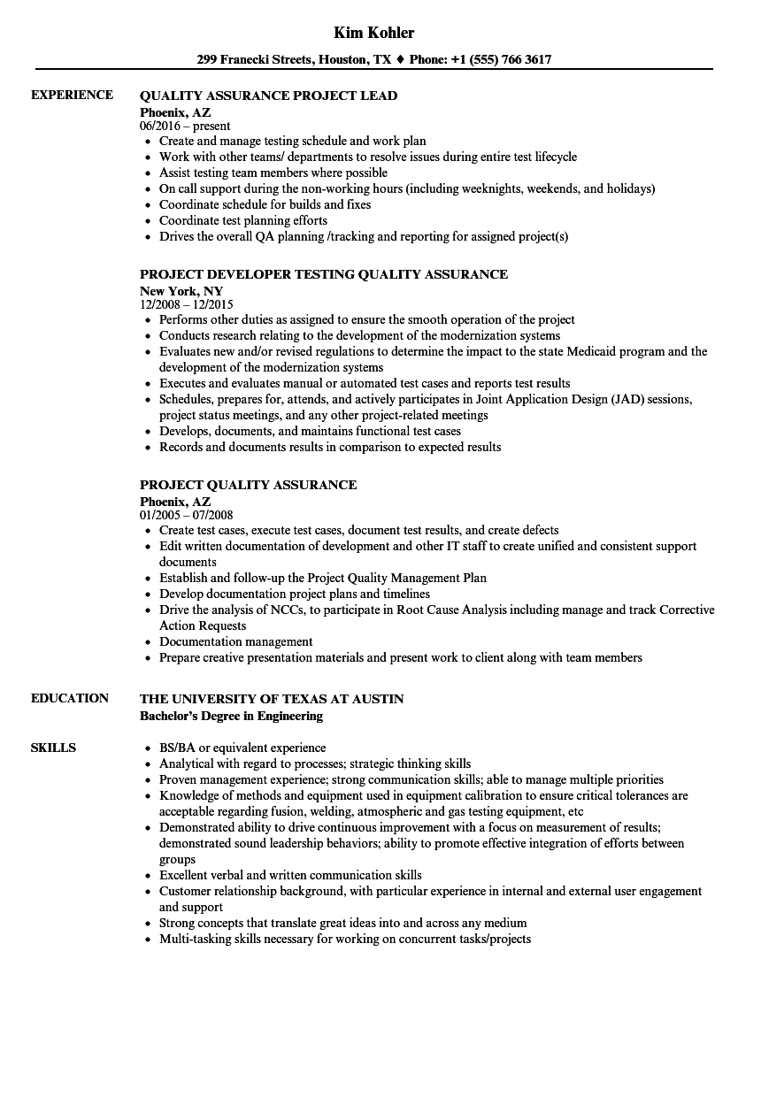 project quality assurance resume samples