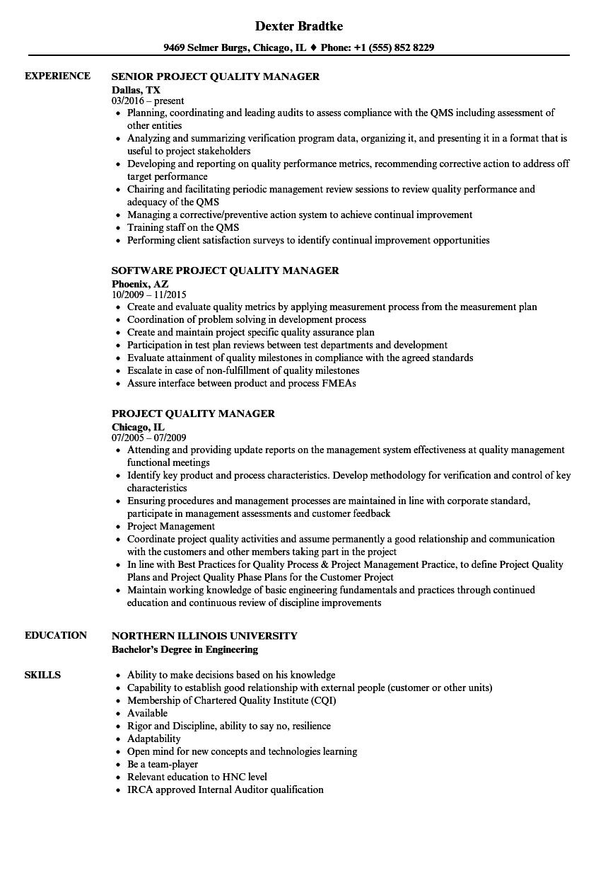 project quality manager resume samples