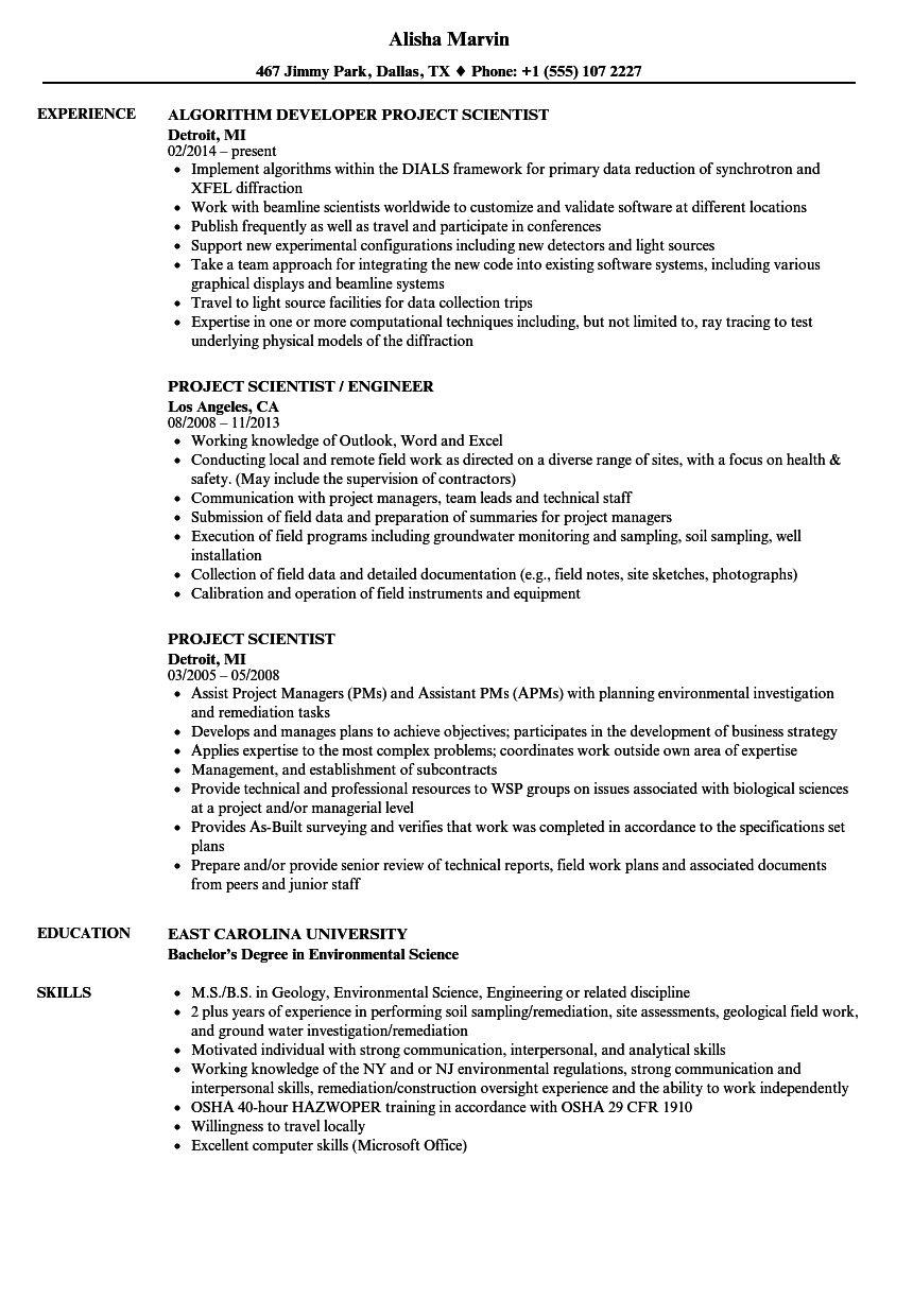 project scientist resume samples