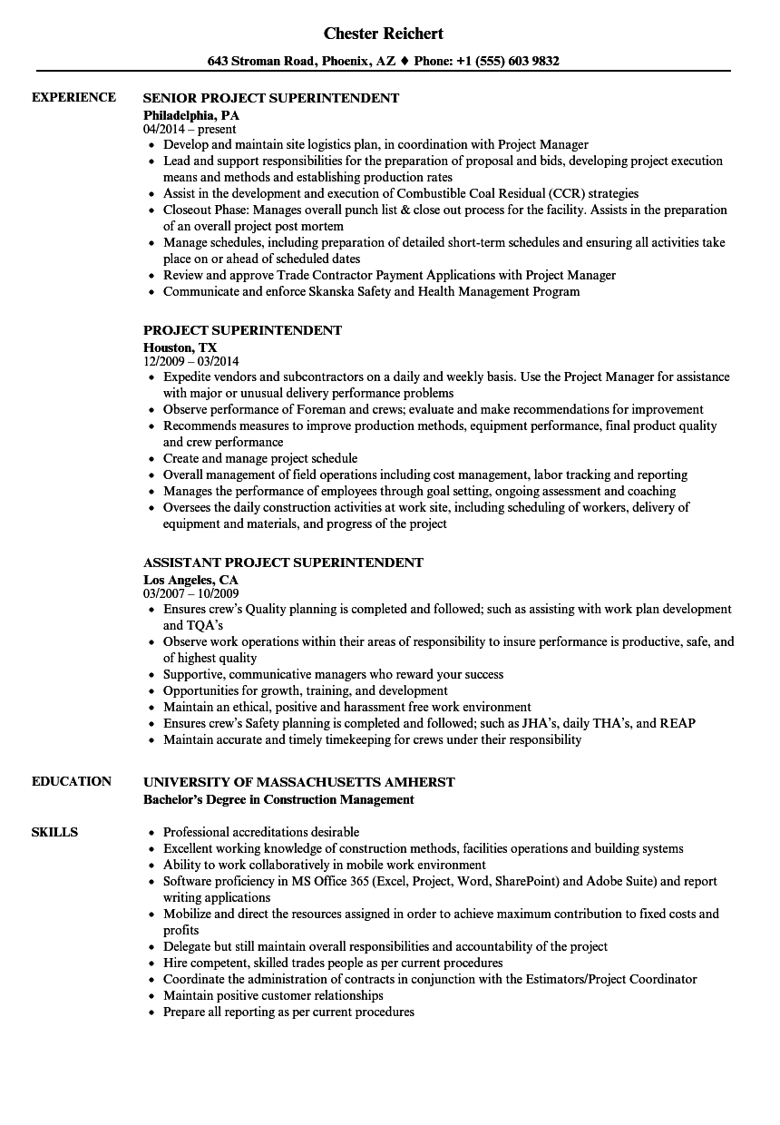 Beautiful Download Project Superintendent Resume Sample As Image File
