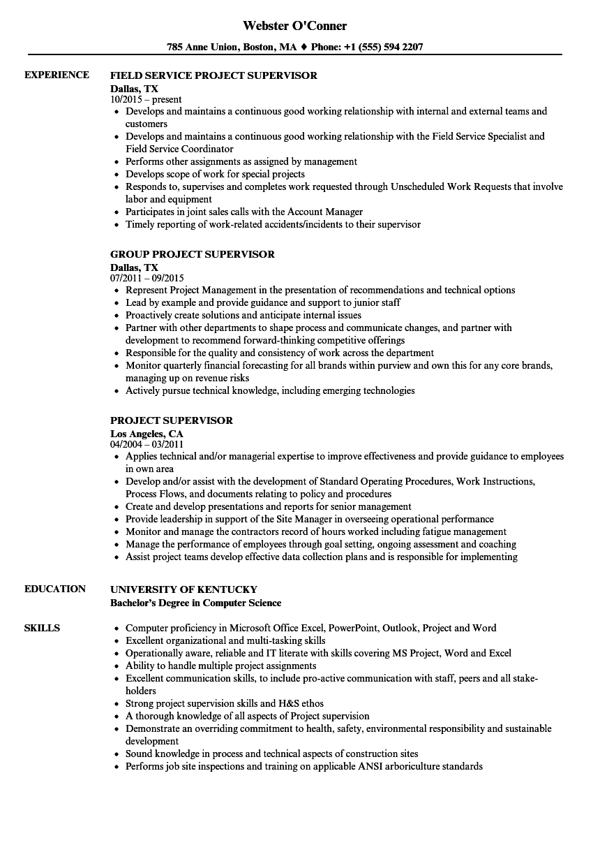 Project Supervisor Resume Samples | Velvet Jobs
