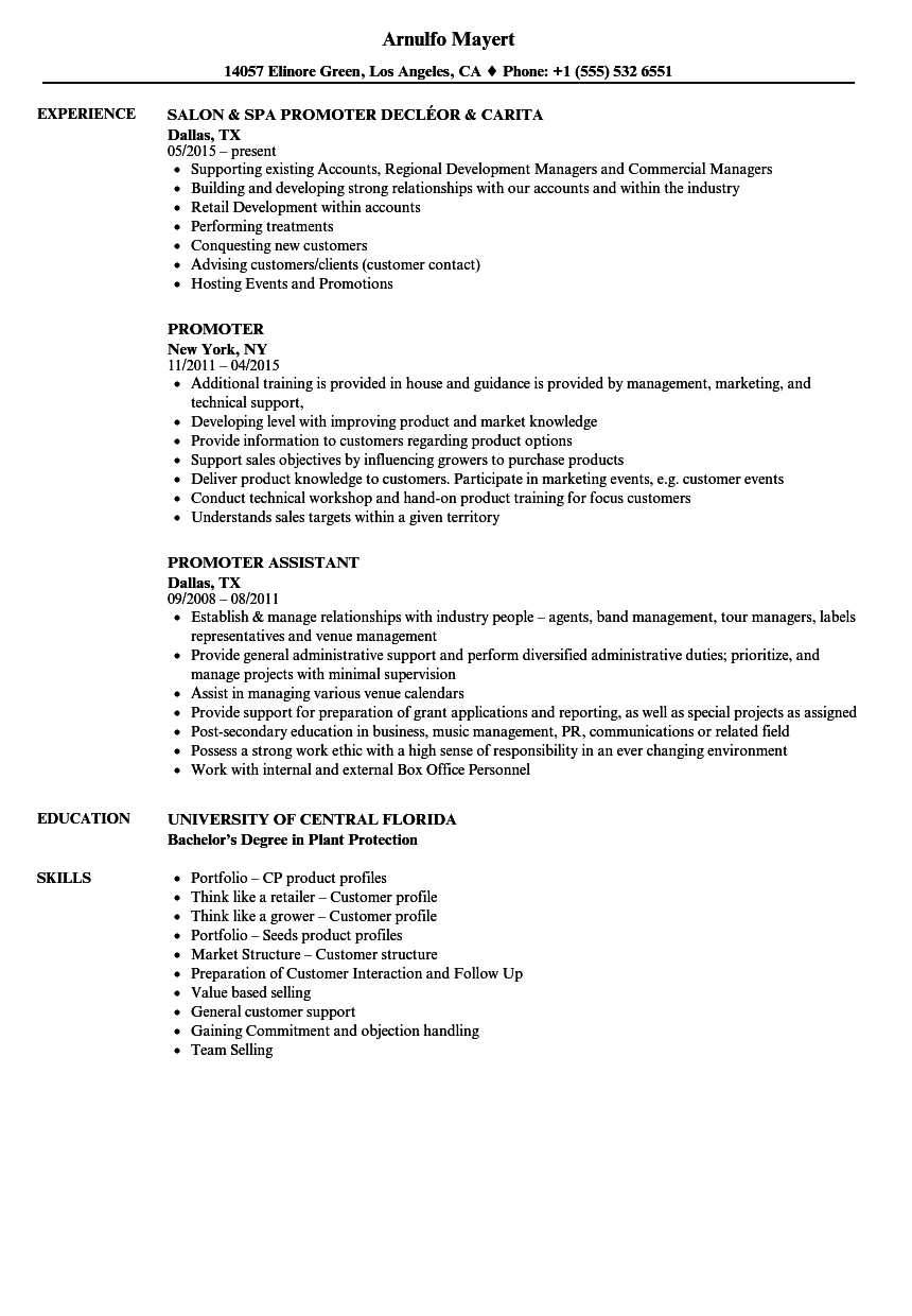 Promoter Resume Samples | Velvet Jobs