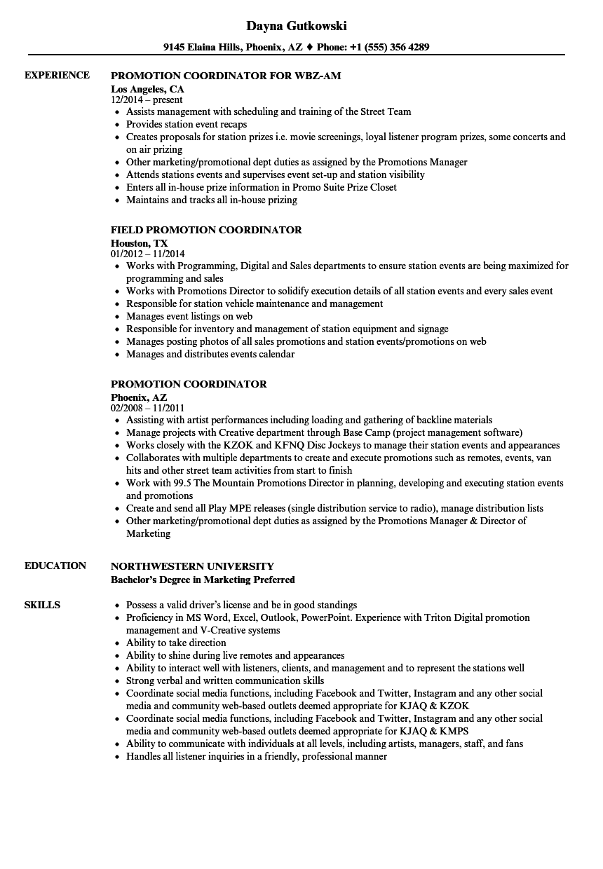 Download Promotion Coordinator Resume Sample As Image File  Promotion On Resume