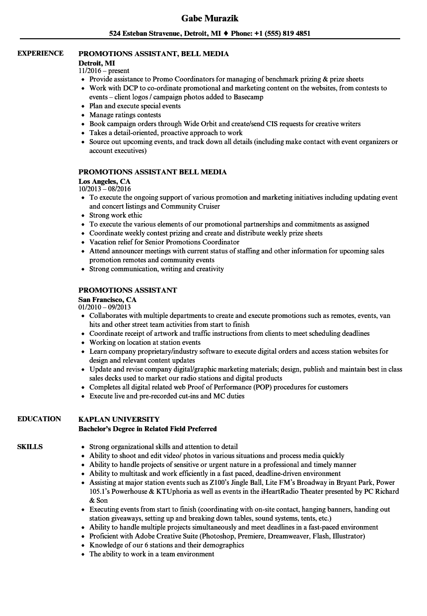 promotions assistant resume samples