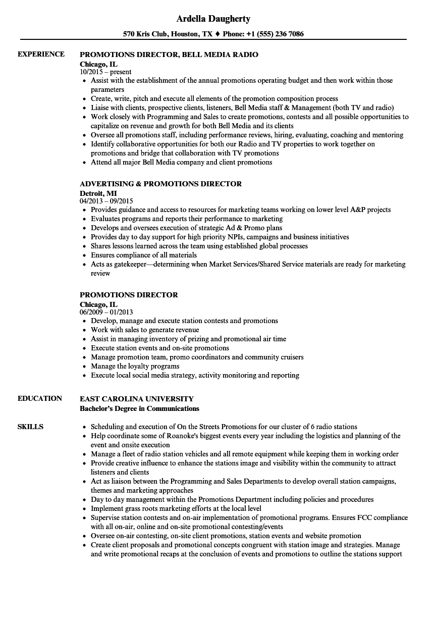 Download Promotions Director Resume Sample As Image File