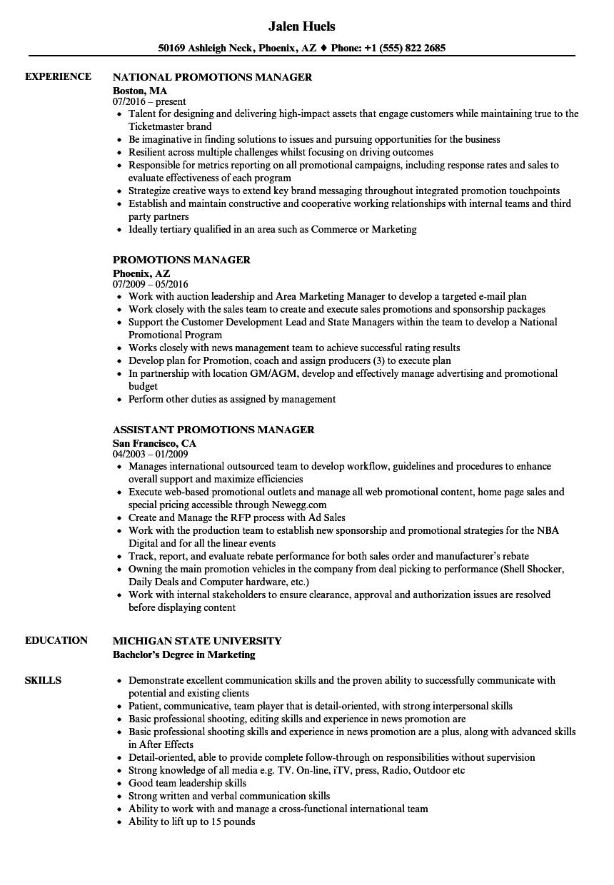 Promotions Manager Resume Samples Velvet Jobs