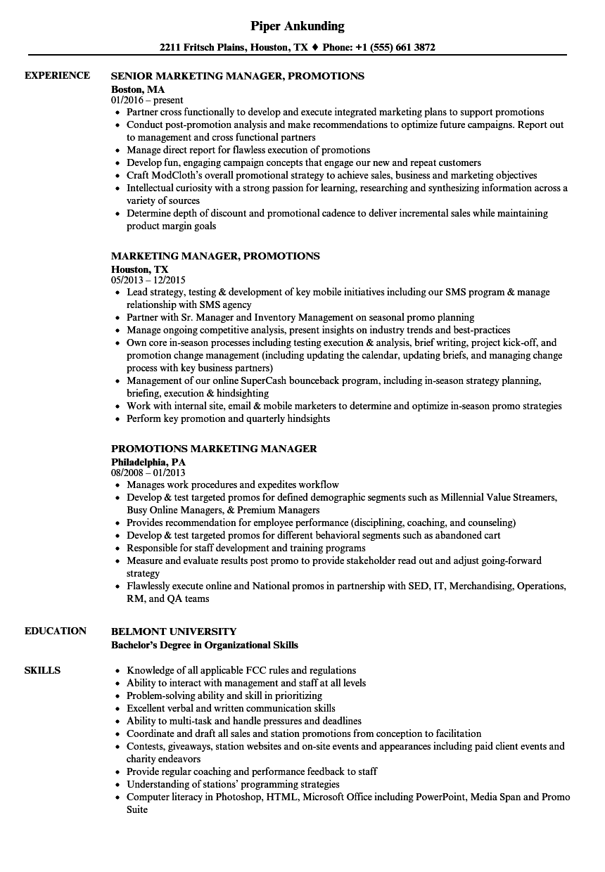 promotions    marketing manager resume samples
