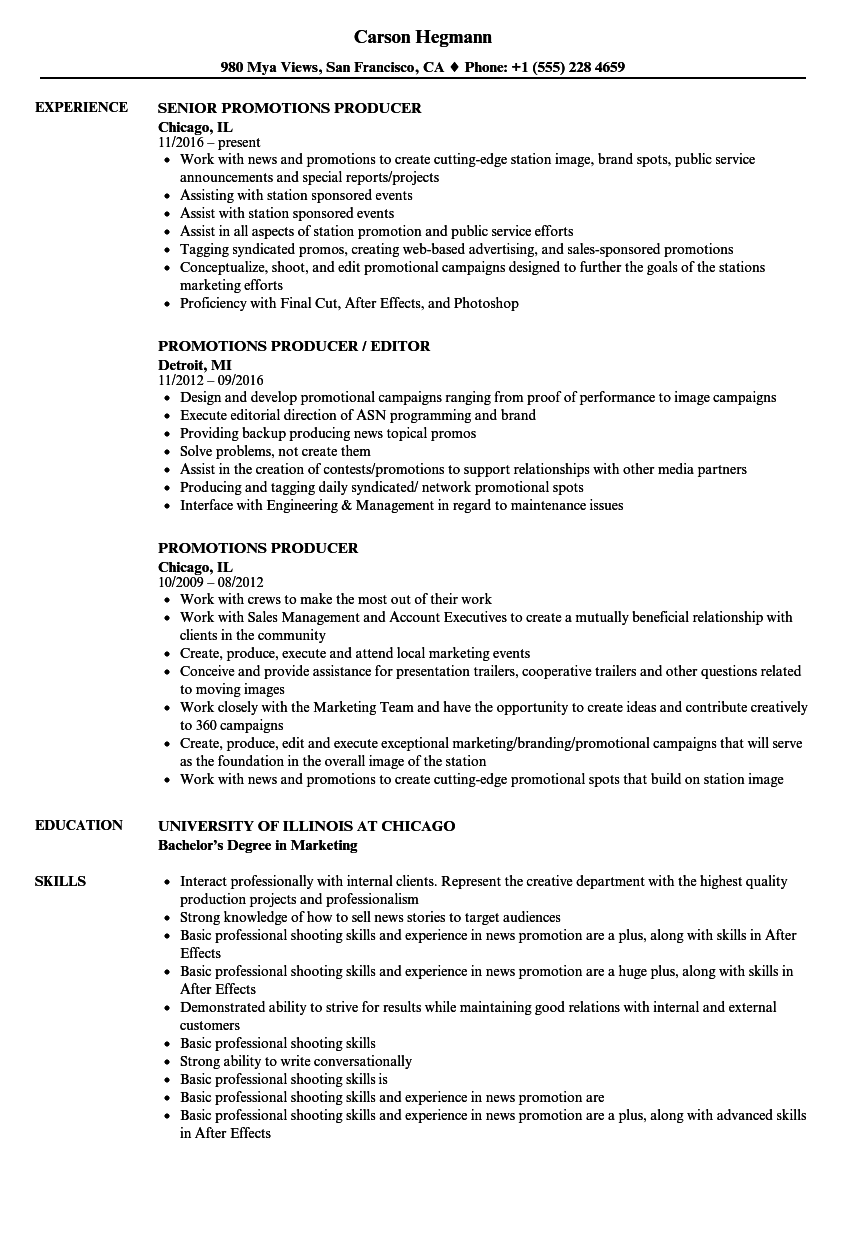 Download Promotions Producer Resume Sample As Image File