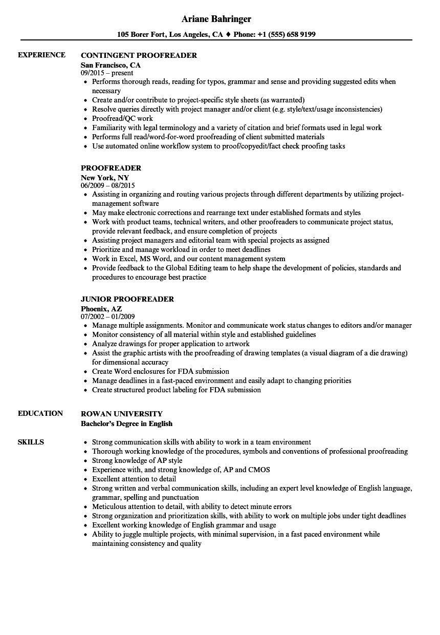 proofreader resume samples