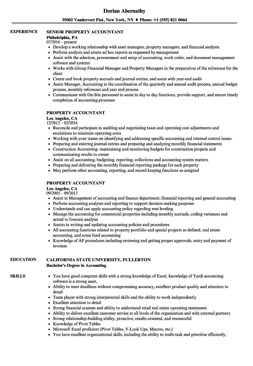 Property Accountant Resume Samples | Velvet Jobs
