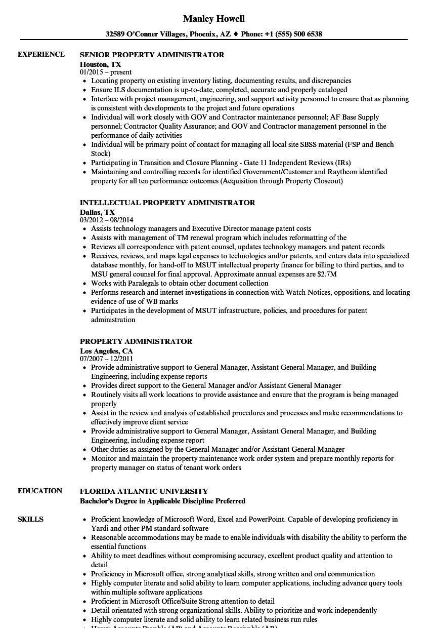 property administrator resume samples